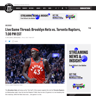 Watch Live- Brooklyn Nets vs. Toronto Raptors, 7-30 PM EST - NetsDaily