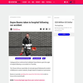Dayne Beams taken to hospital following car accident - Sporting News Australia
