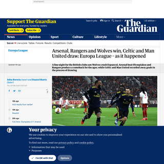ArchiveBay.com - www.theguardian.com/football/live/2020/feb/20/celtic-manchester-united-wolves-rangers-arsenal-europa - Arsenal, Rangers and Wolves win, Celtic and Man United draw- Europa League – as it happened - Football - The Guardian