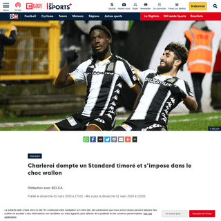 ArchiveBay.com - www.dhnet.be/sports/football/division-1a/standard/charleroi-standard-pas-de-surprise-dans-les-compositions-des-deux-equipes-direct-a-18h-5e5bdf41f20d5a64229614e6 - Charleroi dompte un Standard timoré et s'impose dans le choc wallon - DH Les Sports+