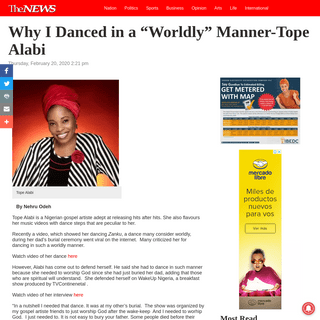 """Why I Danced in a """"Worldly"""" Manner-Tope Alabi - The NEWS"""