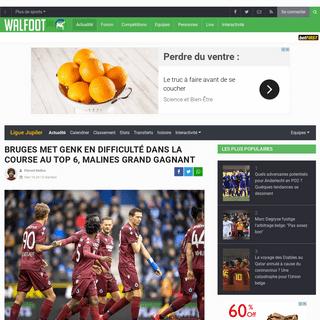 Bruges met Genk en difficulté dans la course au top 6, Malines grand gagnant - Tout le foot - Walfoot.be