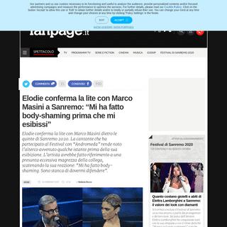 Elodie conferma la lite con Marco Masini a Sanremo- Mi ha fatto body-shaming prima che mi esibissi