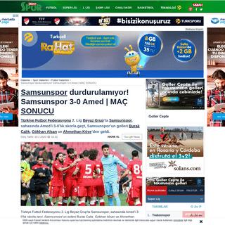 Samsunspor durdurulamıyor! Samsunspor 3-0 Amed - MAÇ SONUCU - Spor Haberleri
