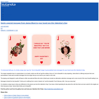 ArchiveBay.com - routenote.com/blog/send-a-special-message-from-james-blunt-to-your-loved-one-this-valentines-day/ - Send a special message from James Blunt to your loved one this Valentine's Day - RouteNote Blog