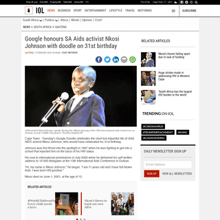 Google honours SA Aids activist Nkosi Johnson with doodle on 31st birthday - IOL News