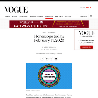 Daily Horoscope - Today's Free Horoscope for 14th February 2020 - VOGUE India