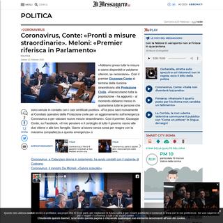 ArchiveBay.com - www.ilmessaggero.it/politica/coronavirus_conte_governo_nuove_misure_salvini_chiudere_confini-5067988.html - Coronavirus, Conte- «Pronti a misure straordinarie». Meloni- «Premier riferisca in Parlamento»