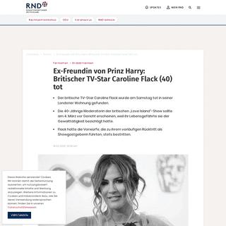 ArchiveBay.com - www.rnd.de/promis/trauer-um-caroline-flack-britische-love-island-moderatorin-tot-aufgefunden-6B65XI7CSJDRJHMYGAATHPZP7Q.html - Ex-Freundin von Prinz Harry- Britischer TV-Star Caroline Flack (40) tot