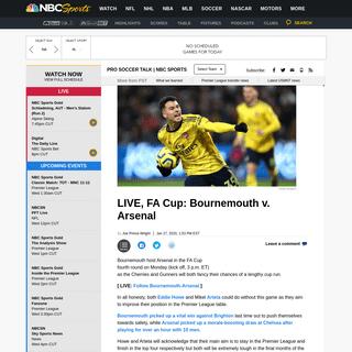 LIVE, FA Cup- Bournemouth v. Arsenal - ProSoccerTalk - NBC Sports