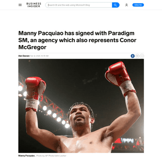 Manny Pacquiao signs with Paradigm, which represents Conor McGregor - Business Insider