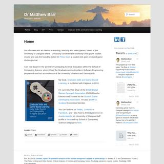 Dr Matthew Barr - Matt Barr's website