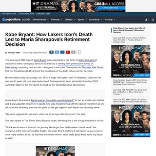 Kobe Bryant- How Lakers Icon's Death Led to Maria Sharapova's Retirement Decision