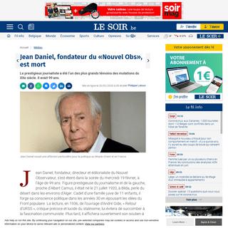 Jean Daniel, fondateur du «Nouvel Obs», est mort - Le Soir