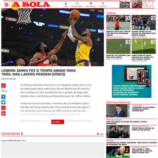 A BOLA - LeBron James fez o tempo andar para trás, mas Lakers perdem (vídeo) (NBA)