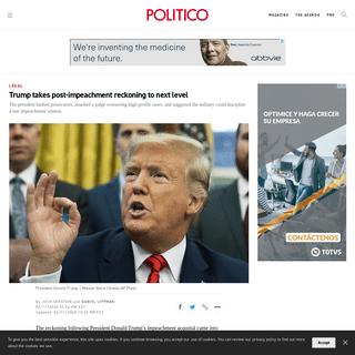 Trump takes post-impeachment reckoning to next level - POLITICO