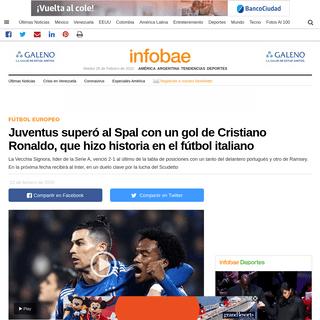 Juventus superó al Spal con un gol de Cristiano Ronaldo, que hizo historia en el fútbol italiano - Infobae