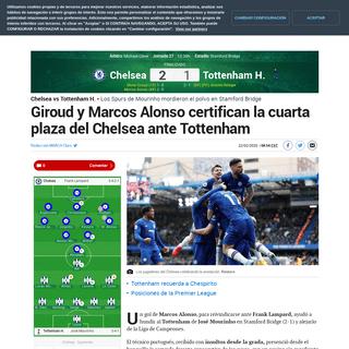Chelsea vs Tottenham H. Giroud y Marcos Alonso certifican la cuarta plaza del Chelsea ante Tottenham - Premier League-