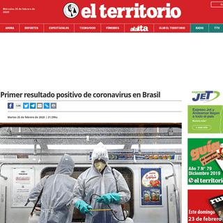 Primer resultado positivo de coronavirus en Brasil - El Territorio Misiones
