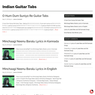 Indian Guitar Tabs - Guitar Chords, Tabs and Lyrics of Indian Songs