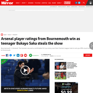 ArchiveBay.com - www.irishmirror.ie/sport/soccer/match-reports/arsenal-player-ratings-bournemouth-win-21373970 - Arsenal player ratings from Bournemouth win as teenager Bukayo Saka steals the show - Irish Mirror Online