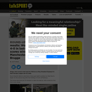 ArchiveBay.com - talksport.com/football/672235/europa-league-results-manchester-united-club-brugge-celtic-copenhagen/ - Europa League results- Wolves thrash Espanyol 4-0 in last-32 match, Lacazette scores winner for Arsenal, Manchester United held