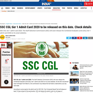 ArchiveBay.com - www.indiatvnews.com/education/news-ssc-cgl-tier-1-admit-card-2020-release-date-exam-pattern-details-589847 - SSC CGL tier 1 Admit Card 2020 to be released on this date. Check details - Education News – India TV
