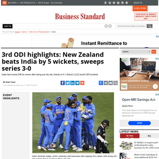 3rd ODI highlights- New Zealand beats India by 5 wickets, sweeps series 3-0 - Business Standard News