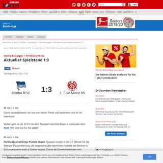 Hertha BSC gegen 1. FSV Mainz 05 live- Aktueller Spielstand 1-3 - FOCUS Online