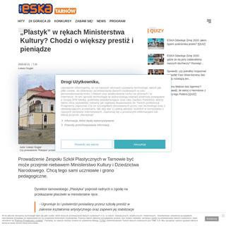 """""""Plastyk"""" w rękach Ministerstwa Kultury- Chodzi o większy prestiż i pieniądze - ESKA.pl"""