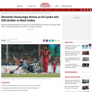 Wanindu Hasaranga shines as Sri Lanka win ODI thriller vs West Indies - Sports News
