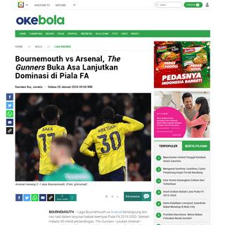 ArchiveBay.com - bola.okezone.com/read/2020/01/28/45/2159347/bournemouth-vs-arsenal-the-gunners-buka-asa-lanjutkan-dominasi-di-piala-fa - Bournemouth vs Arsenal, The Gunners Buka Asa Lanjutkan Dominasi di Piala FA - Okezone Bola