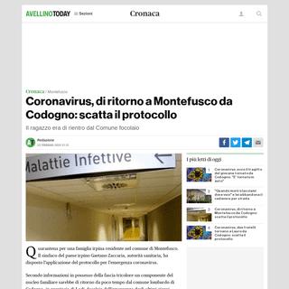 Coronavirus, di ritorno a Montefusco da Codogno- scatta il protocollo