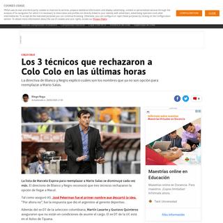 Los 3 técnicos que rechazaron a Colo Colo en las últimas horas - AS Chile