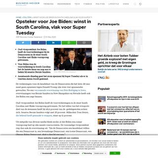 Winst voor Joe Biden in South Carolina vlak voor Super Tuesday