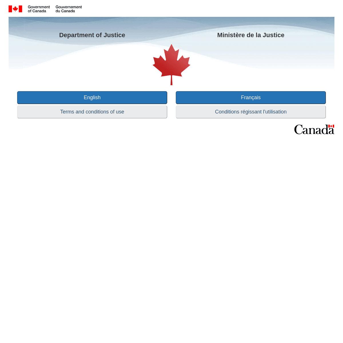 Language selection - Department of Justice - Sélection de la langue - Ministère de la Justice