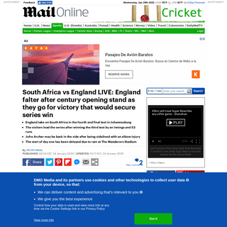 South Africa vs England LIVE- Follow day one of the fourth test in Johannesburg - Daily Mail Online