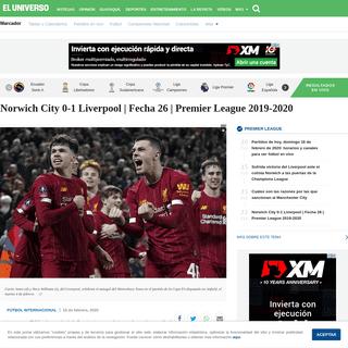 Norwich City 0-1 Liverpool - Fecha 26 - Premier League 2019-2020 - Fútbol Internacional - Deportes - El Universo