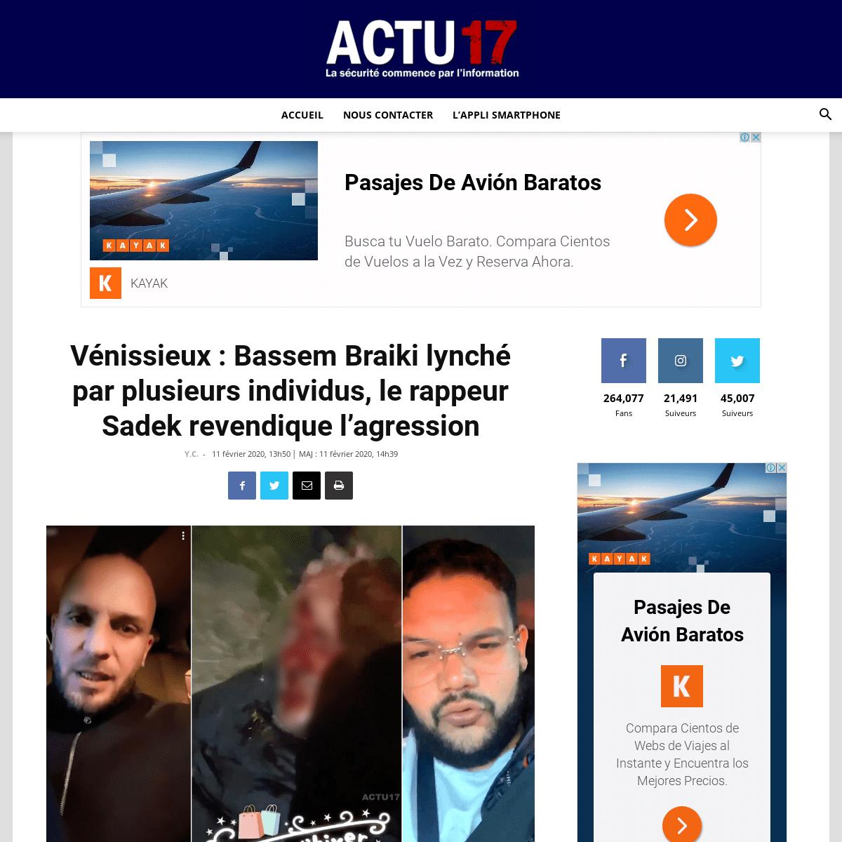 Vénissieux - Bassem Braiki lynché par plusieurs individus, le rappeur Sadek revendique l'agression