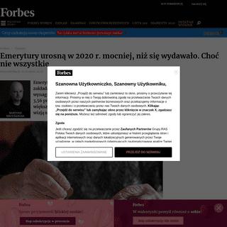 Waloryzacja rent i emerytur. O ile wzrosną świadczenia w 2020 roku - Finanse - Forbes.pl