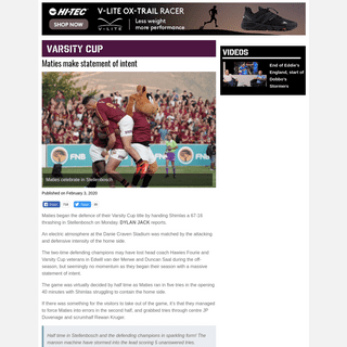 Maties make statement of intent by demolishing Shimlas 67-16