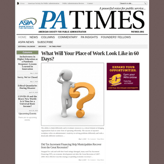 PA TIMES Online - A Powerful Voice for Public Service…online news arm of the American Society for Public Administration (ASPA)
