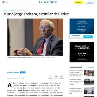 Murió Jorge Todesca, extitular del Indec - LA NACION