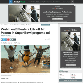 Watch out! Planters kills off Mr. Peanut in Super Bowl pregame ad - MarketWatch