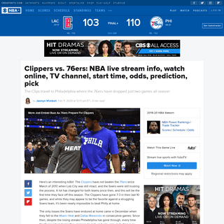Clippers vs. 76ers- NBA live stream info, watch online, TV channel, start time, odds, prediction, pick - CBSSports.com