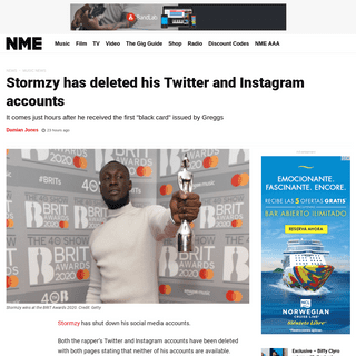 Stormzy has deleted his Twitter and Instagram accounts