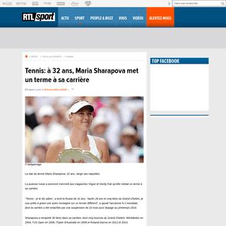 Tennis- à 32 ans, Maria Sharapova met un terme à sa carrière - RTL sport