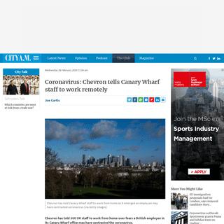 Coronavirus- Chevron tells Canary Wharf staff to work remotely - CityAM - CityAM