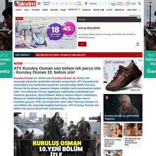 ATV Kuruluş Osman son bölüm tek parça izle - Kuruluş Osman 10. bölüm izle! - Takvim