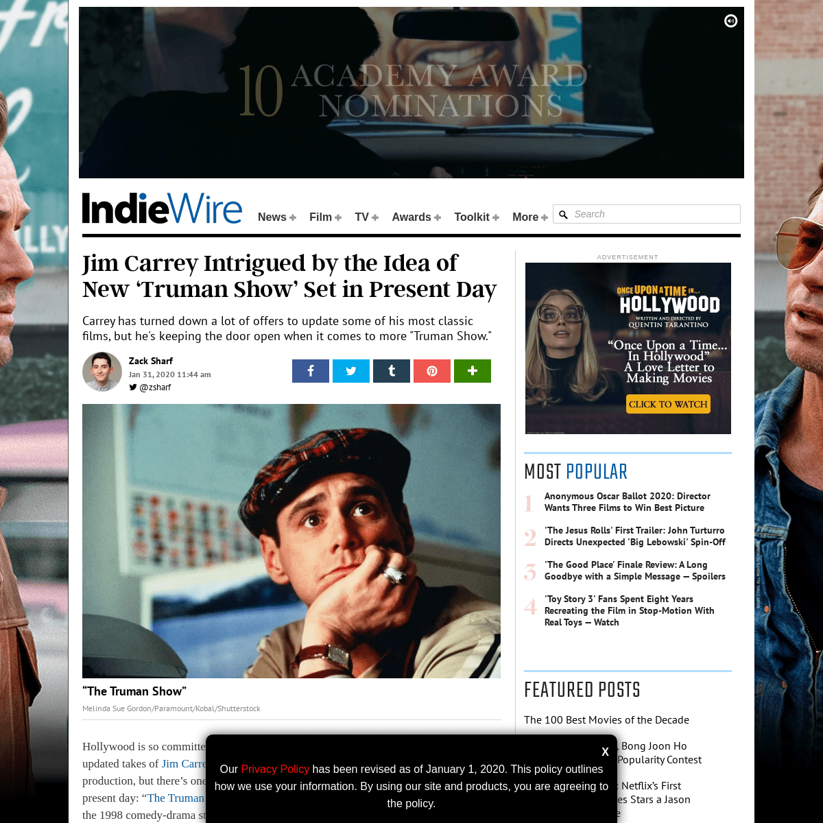 Jim Carrey Isn't Against the Idea of a Modern Day 'Truman Show' Movie - IndieWire